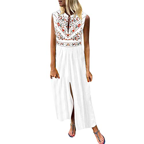 Sunhusing Women's V-Neck Bohemian Ethnic Print Sleeveless Dress Summer Holiday Beach Long Dress White