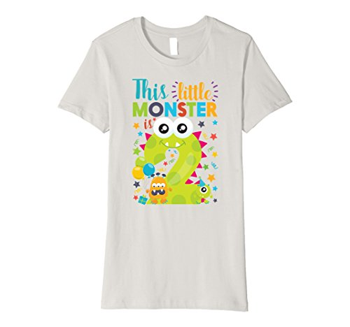 Womens This Little Monster Is 2 Year Old Birthday & Halloween Shirt XL Silver