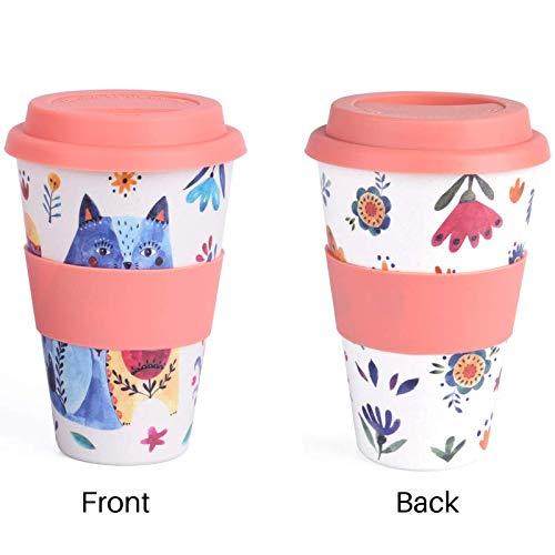 (One Reusable Coffee Tea Travel Mug, Bamboo Fiber, 15 ounce, Eco friendly & Dishwasher safe, Leak Resistant //Cat & Flower//Travel Cup)