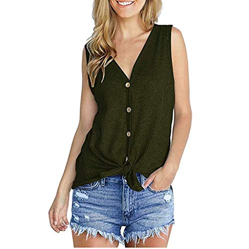 (vermers Womens Waffle Knit Tunic Blouse Tie Knot Henley Tops Loose V-Neck Button Fitting Batwing Plain Shirts(M, Z-zaArmy Green-Sleeveless))