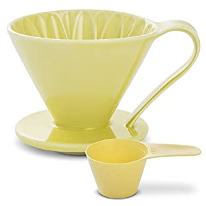 Pour Over Coffee Maker by Sanyo Sangyo: Porcelain Ceramic 1-to-4 Cup Dripper In 5 Beautiful COLORS | Unique Drip Coffee Brewer For Fresh Filter Coffee–Elegant Smart Design: Better Brewing (Yellow)