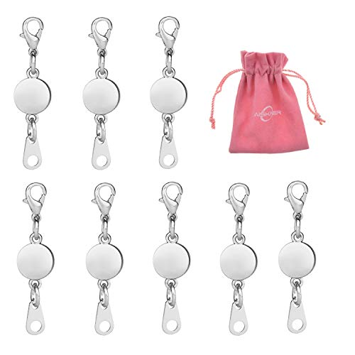 Aiskaer 8 Pcs Locking Magnetic Clasps Magnetic Clasps for Jewelry (Silver)
