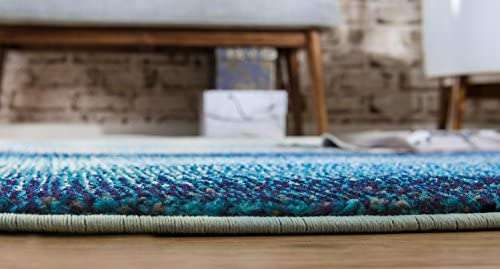 Unique Loom Estrella Collection Vibrant Abstract Blue Round Rug (8 x 8)