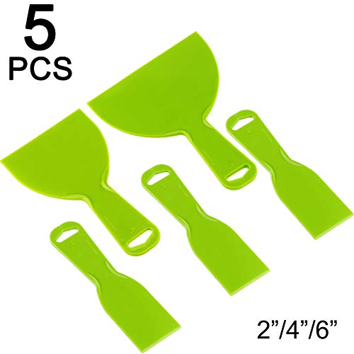5 Pieces Plastic Putty Knife Set Flexible Paint Scrapers Tool for Spackling, Patching, Decals, Wallpaper, Baking, Wall, Car Putty and Painting (Green, Size Set 4)