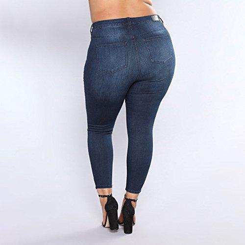 Bleu Slim Cisele Elastique Fashion Sexy Pantalon Taille Fonc Decha Femme Jean Grande ABHqwv1Z