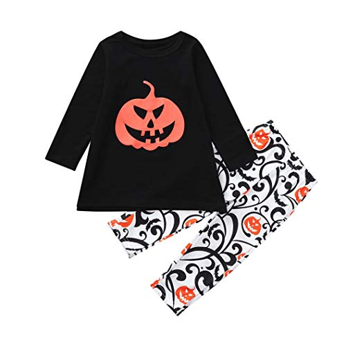 (WARMSHOP No Shipping, Mom&Me Family Matching Sets Halloween Pumpkin Print Long Sleeve Cotton Blouse Tops+Pants 2 PC Outfits (18-24 Months, Black)