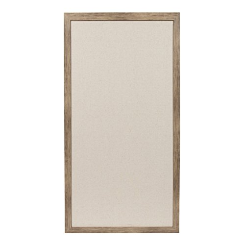 DesignOvation Bacie Oversized Wall Mounted Fabric Pinboard with Decorative Frame, 30 x 55 Inches, Rustic Wood ()