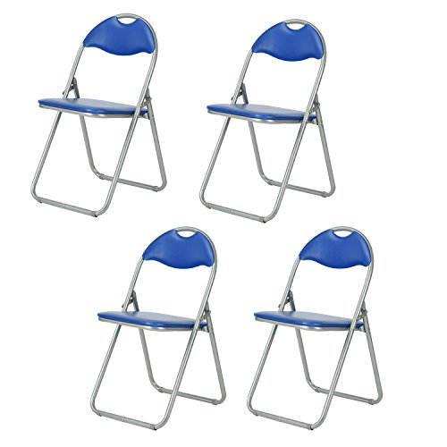 FurnitureR Folding Chair Faux Leather Pu Padded Dining Seat Stacked Chairs Indoor Stool Space Saving Set of 4 Blue by FurnitureR