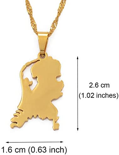 SWAOOS Israel Map Pendant Necklace Stainless Steel Map of Israel Necklace for Women Men Jewish Jewelry Gifts