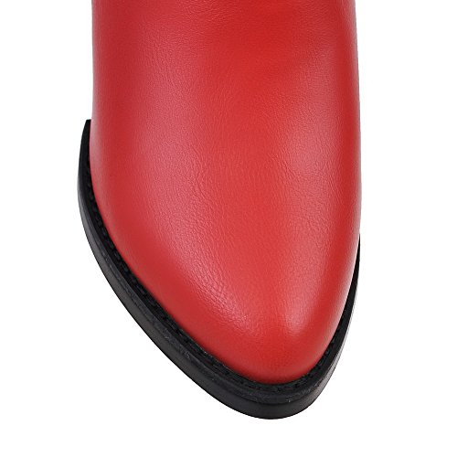 BalaMasa Ladies Chunky Heels Winkle Pinker Elastic Band Imitated Leather Boots Red 4wcke
