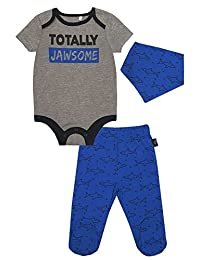 Mini Heroes - Infant Boy's 3 PC Bodysuit, Footed Pant and Bandanna Set, Grey