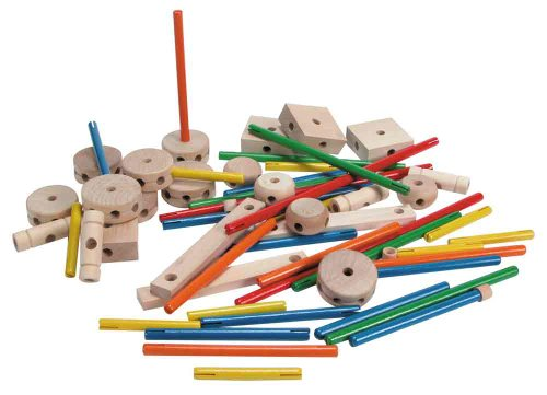 Schylling MKT Super Makit Classic Wood Construction Toy,