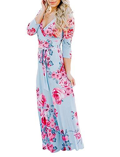- Womens Summer Floral Print Faux Wrap Maxi Long Dresses with Belt Light Blue