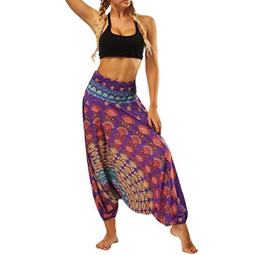 iYBUIA Women Casual Peacock Print Summer Loose Yoga Trousers Baggy Boho Aladdin Jumpsuit Harem Pants(Purple,Free ()