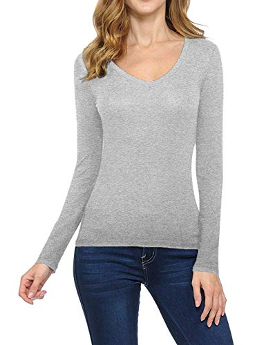 - GUBUYI Women's Basic Solid Color Tee Breathable Soft Long Sleeve Cotton T-Shirt (Gray/V-Neck,L)