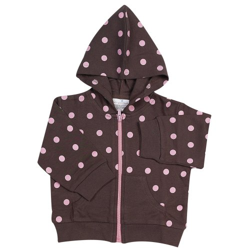 Elegant Baby Chocolate w/ pink dots hooded jacket, small 0-6 months