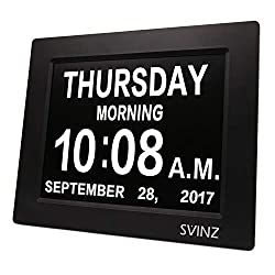 SVINZ 3 Alarms Dementia Clock, 2 Auto-Dim Options, Large Display Digital Calendar Day Clock for Vision Impaired, Elderly, Memory Loss, Black, SDC008W