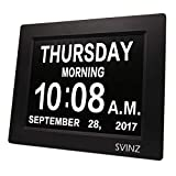 SVINZ 3 Alarms Dementia Clock, 2 Auto-Dim Options, Large Display Digital Calendar Day