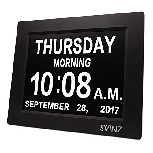 SVINZ 3 Alarms Dementia Clock, 2 Auto-Dim Options, Large Display Digital Calendar Day Clock for Vision Impaired, Elderly, Memory Loss, Black, SDC008W (Out Of Date Words)