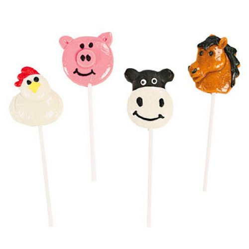 Farm Animal Character Sucker Lollipops (1 dz)
