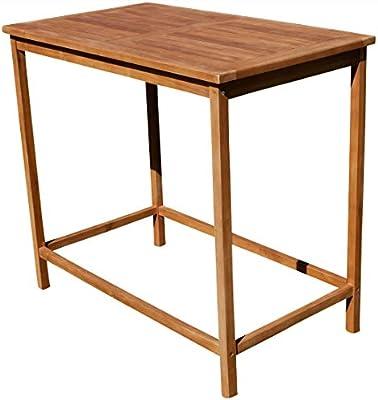 Teca Bar Mesa bistro mesa Pie mesa 120 x 70 cm Mesa de madera mesa ...