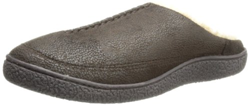 Isotoner Men's Pebble Microsuede Hoodback Slipper,Brown, (Canvas Slippers)
