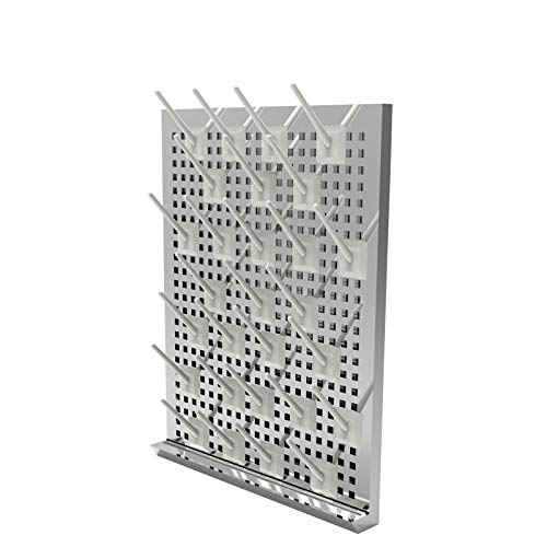 Stainless Steel 27 Pegs Lab Glassware Drying Rack, 304 Stainless Steel Board, Wall-Mount Laboratory Drying Draining Racks, Detachable Pegs for Laboratory Utensils (Grey) by FSYD
