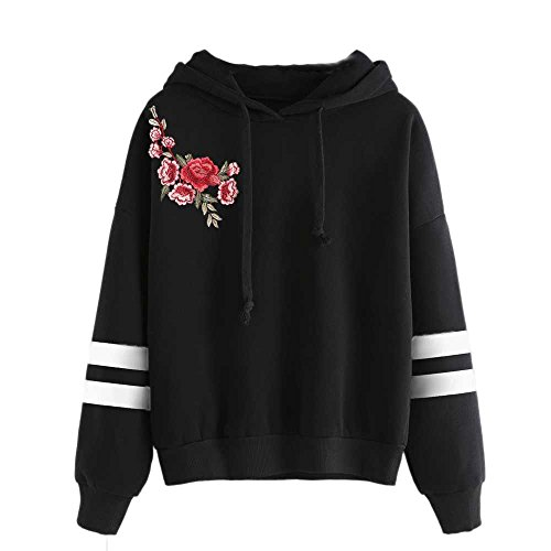Sunhusing Women's Fashion Embroidered Applique Hooded Sweater Stripe Print Long Sleeve Drawstring Pullover