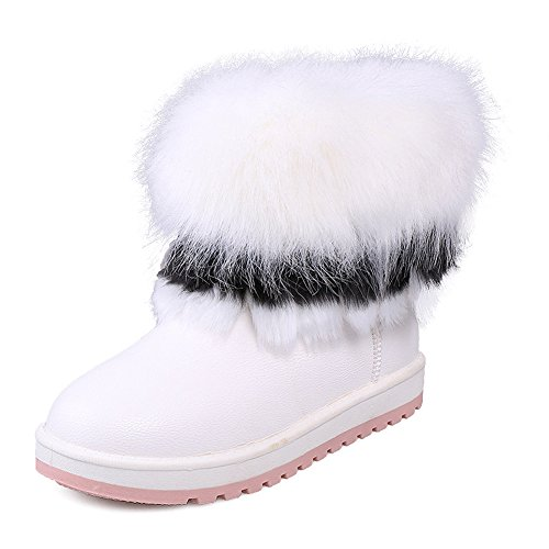 Eagsouni® Damen Warme Gefüttert Kurz Schlupfstiefel Schneestiefel Outdoor Winter Warm Pelz Stiefeletten Winterstiefel Weiß