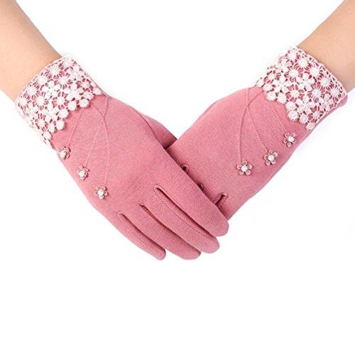 Pearl Plush Fleece Glove (Tenworld Womens Fashion Lace Pearls Winter Warm Wedding Party Gloves (Pink))