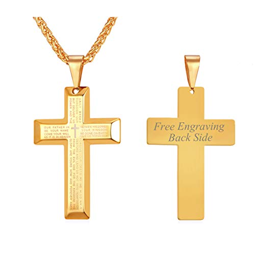 U7 Men Women 18K Gold Plated Customized Engraved Lords Prayer Cross Pendant Necklace 22 Inch