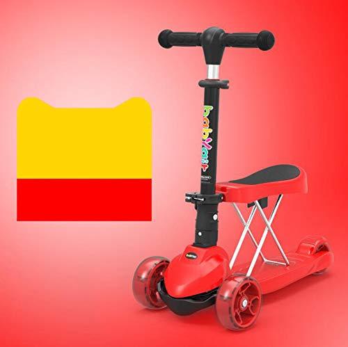 BABIFIS 3-Rad-Multifunktions-Scooter für Kinder EIN-Knopf-Faltendes DREI-in-Eins-Baby-Balance-Auto-Dia-Auto-Blitz-breites Rad-LED-Licht rot
