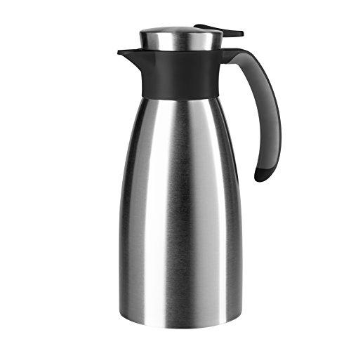 Emsa 508932  Isolierkanne, Edelstahl, 1 Liter, Quick Tip Verschluss, 100% dicht, Schwarz, Soft Grip