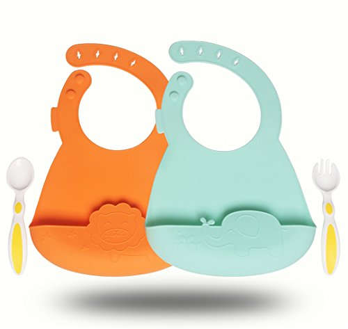 Silicone Baby Feeding Bibs Set of 2 - Waterproof Adjustable Snaps Infant Saliva Towel Bibs with Food Catcher Easily Wipes Clean, Include One Set Spoon & Fork (Adjustable Catchers)