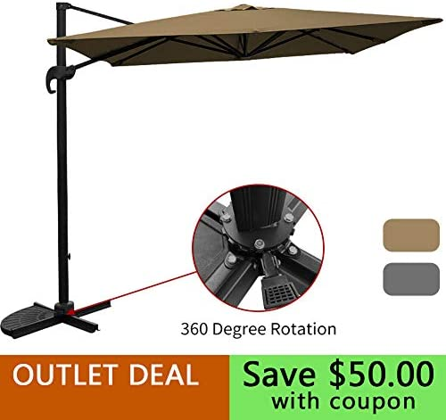 SUNGREEN Offset Patio Deluxe Umbrella 10ft Rectangular Outdoor Cantilever Umbrella with Cross Base Aluminum Pole 360 Degree Rotation for Backyard Deck Poolside-Brown