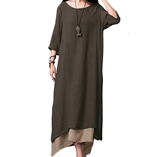 Romacci Women Casual Maxi Dress Vintage Chinese Style Layers Loose Boho Long Dress Coffee