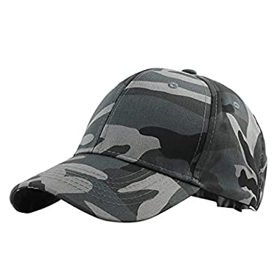 Unisex Outdoor Camouflage Vintage Baseball Cap, Plain Visor Trucker Hat Adjustable Breathable Travel Hat Low-Profile Dad Hat