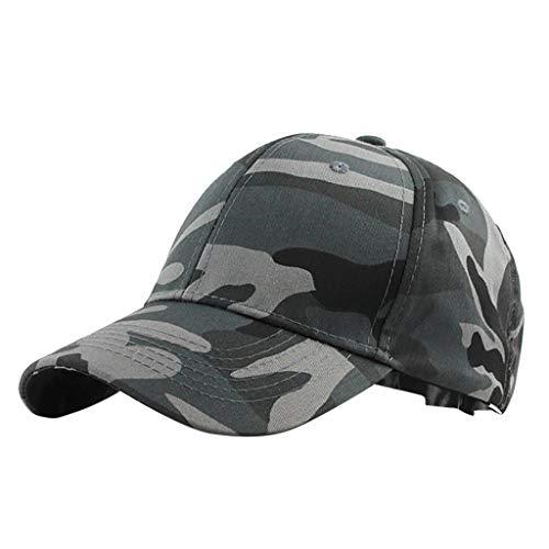 Women Men Adjustable Baseball Cap Unisex Camouflage Trucker Hat Fashion Visors Sun Protection Beach Cap for Outdoor Holiday (Black)