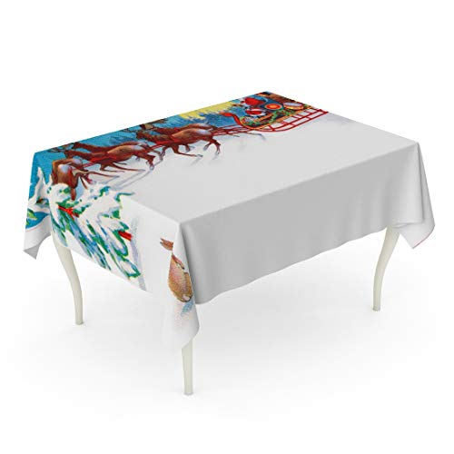 Tarolo Rectangle Tablecloth 60 x 84 Inch Red Vintage Rabbit Watches Santa Reindeer and Sleigh on Christmas Eve Circa 1915 Area for Claus Antique Table Cloth