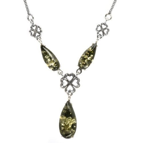 Sterling Silver Green Amber Necklace 17 - Silver Green Necklace Amber