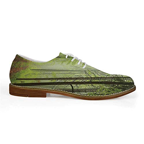 Outdoor Stylish Leather Shoes,Trail Trough Foggy Alders Beeches Oaks Coniferous Grove Hiking Theme for Men,US 8