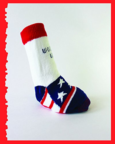 Power Paws, traction socks for dogs, M, White w/Flag by Woodrow Wear