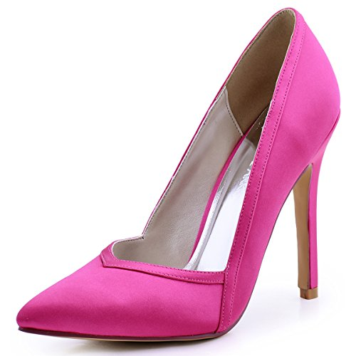 ElegantPark HC1603 Women's Pointed Toe High Heel V Cut Slip on Satin Dress Pumps Hot Pink US 7
