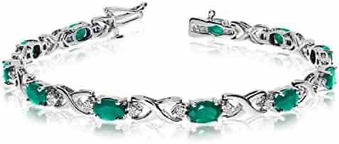 14k White Gold Natural Emerald And Diamond Tennis Bracelet