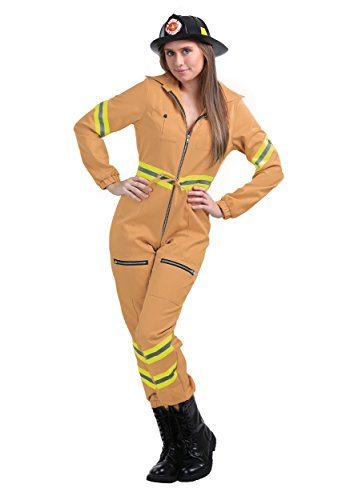 Ladies Tan Firefighter Jumpsuit Costume