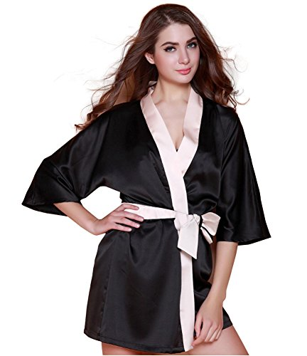 Stock Satin Robe - Cos2be Women'S Kimono Solid Color Silk Robe- Silky Sexy Lace Trim Nightdress- Soft Short Wedding Bridal Satin Robe For Women& Girls,(Black Robe)