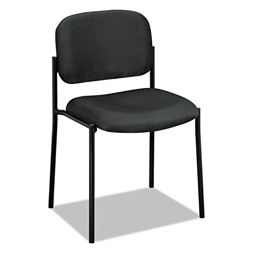 Basyx VL606VA19 VL606 Series Stacking Armless Guest Chair, Charcoal Fabric