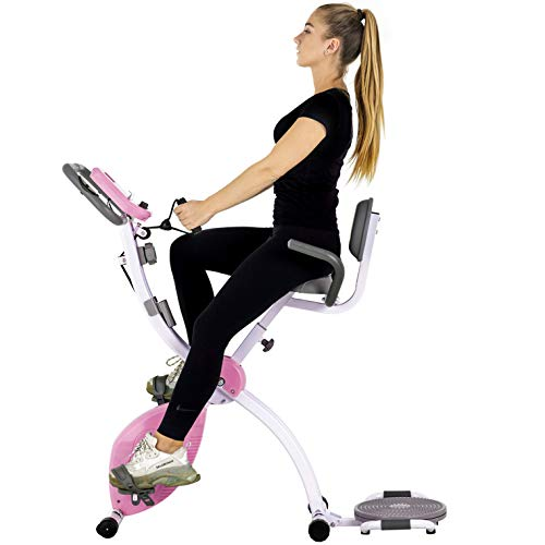 Murtisol Folding Stationary Bike Foldable Exercise Bike Indoor Cycling W/Twister Plate, Arm Resistance Bands, Extra Large&Adjustable Seat and Heart Monitor for Home Cardio Workout, Pink