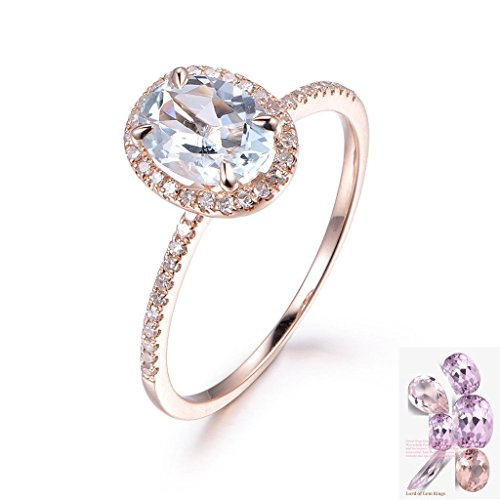 Oval Aquamarine Engagement Ring Pave Diamond Wedding 14K Rose Gold 6x8mm ()
