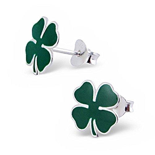925 Sterling Silver Green Shamrock Stud Earrings 4670